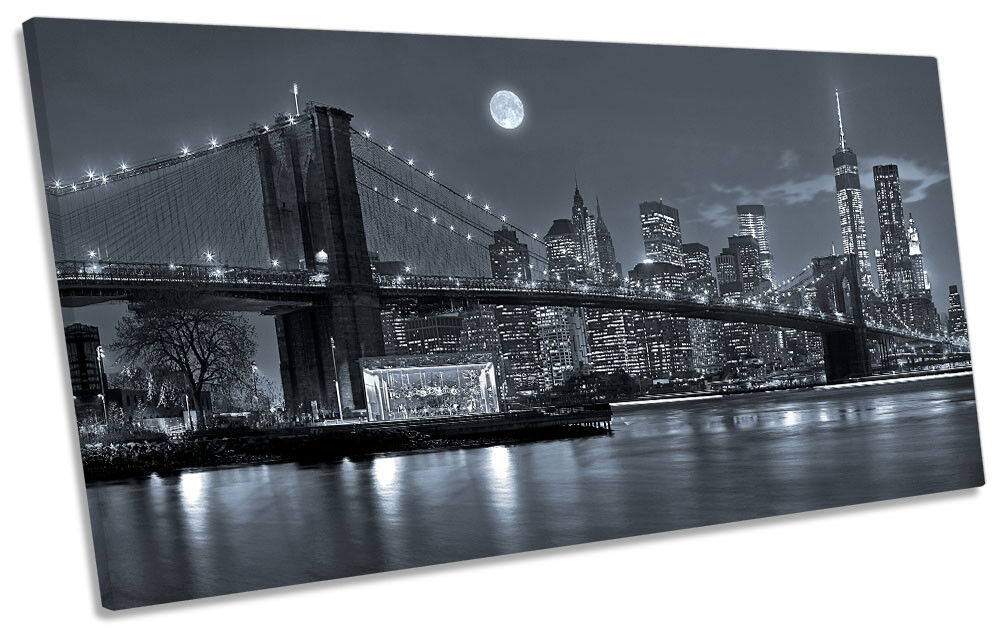 New York Cityscape Night Picture PANORAMIC CANVAS WALL ART Print