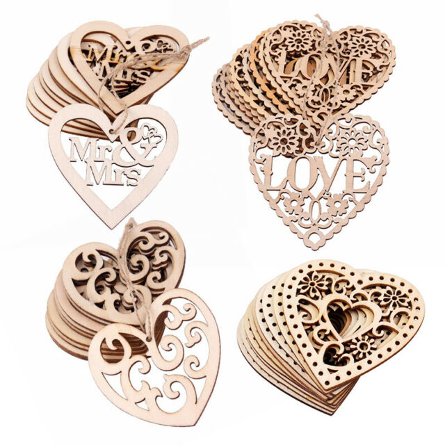 36pcs Natural Unfinsihed Wood Love Shape Embellishment for Art DIY Crafts