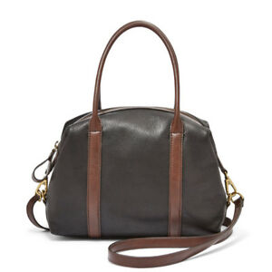 Image Is Loading Fossil Charley Satchel Black And Brown Leather Bag