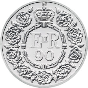 2016-Royal-Mint-UK-90th-B-039-day-of-the-Queen-QEII-5-Pound-Silver-Proof-Coin