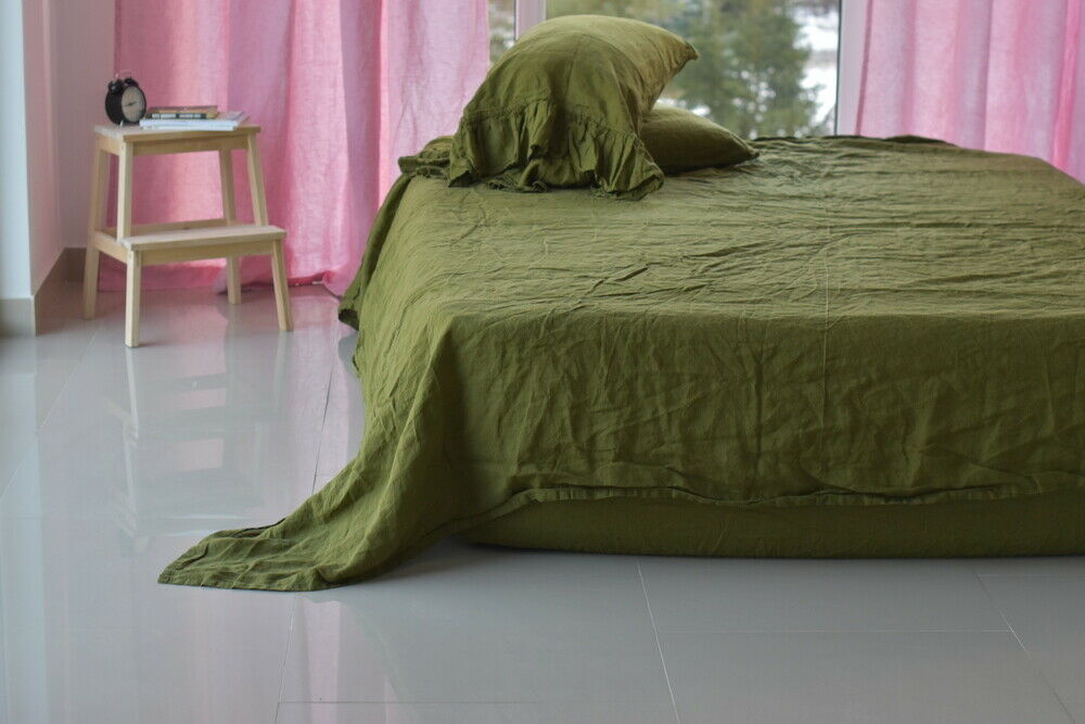 Linen SHEET SET of 4pc Stone Washed sheets and two pillowcases RUFLLE Grün