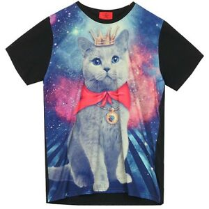 Galaxy-T-Shirt-with-CAT-Graphic-Pattern-Print-Funky-Rock-Punk-Crew-Neck-BLACK