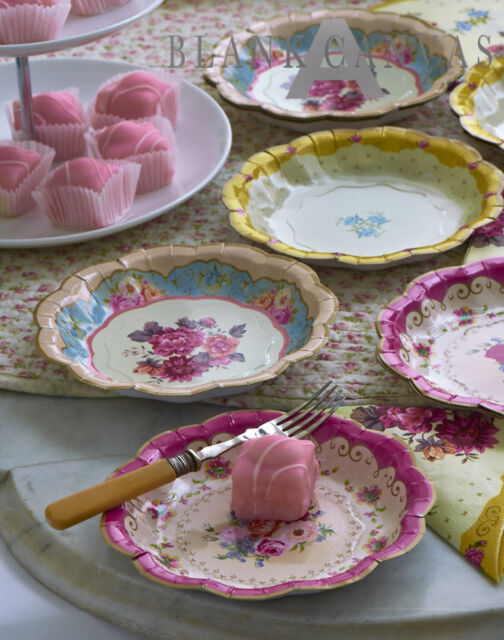 Pack 12 FLORAL PAPER PLATES DISHES Retro Vintage Girls Tea Party Wedding Cakes