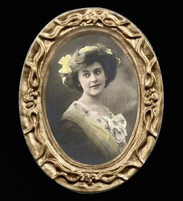 Vintage 12th Dollhouse Miniature Metal Photograph Picture Photo Frame 3x3.7cm