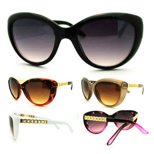 Women-039-s-Fashion-Cat-Eye-Sunglasses-with-Metal-Chain-Temples