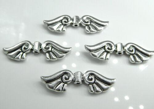 10 Flügel Perlen 44mm groß silber Metall XL Engelsflügel Schutzengel Perlenengel