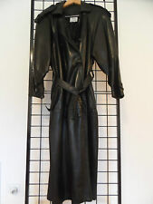 LEATHER TRENCH COAT FULL LENGTH  FULLY LINED BY MAXIMA USA MADE WOMEN S BLACK