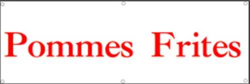 Banner150cm x 50 cm Werbeplane // Gerüstplane Plane p28 Pommes // Imbiss