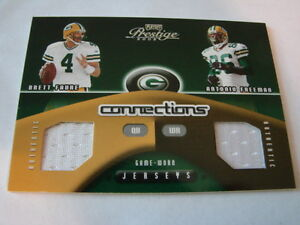 2002-Playoff-Prestige-Brett-Favre-amp-Antonio-Freeman-Jersey-Card-Packers-B106