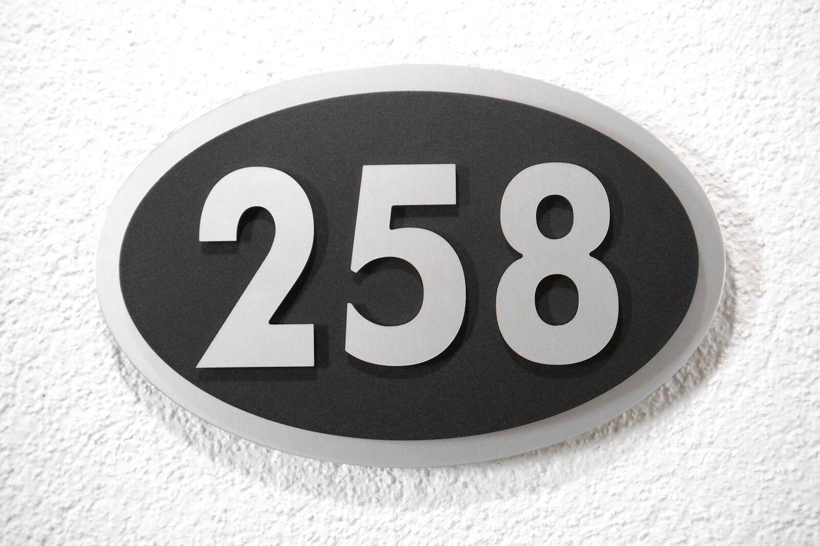 Hausnummer Silber Schwarz Design Galaxy 3-stellig 10 Schriftarten zur Auswahl