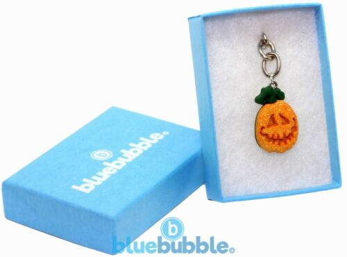 Bluebubble TRICK OR TREAT 15mm Pumpkin Face Keyring Gift Box Funky Fancy Dress