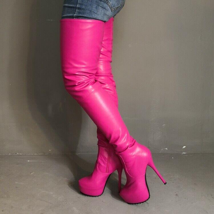 2019 STYLISH Women Thigh High Boots Zipper Heels Boots shoes Woman BIG Size 4-20