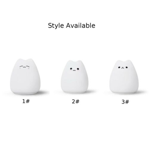 For Children Baby Kids Room,Silicone Cartoon Cat LED Night Light 7Color