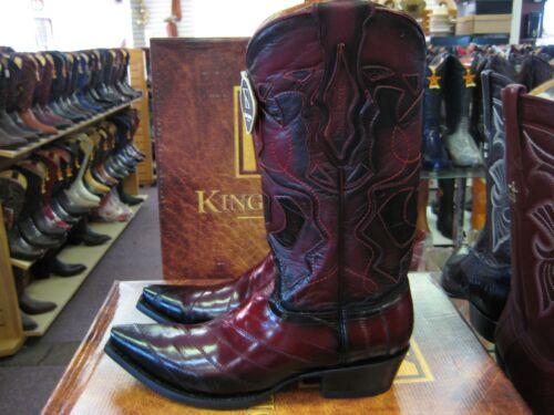94RD0843 KING EXOTIC BURGUNDY SNIP TOE GENUINE EEL WESTERN COWBOY BOOT EE