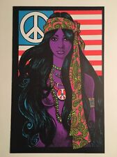 Blacklight Poster Pin-up Print Gypsy Girl Hippy & Koth Biker Double Sided Prints
