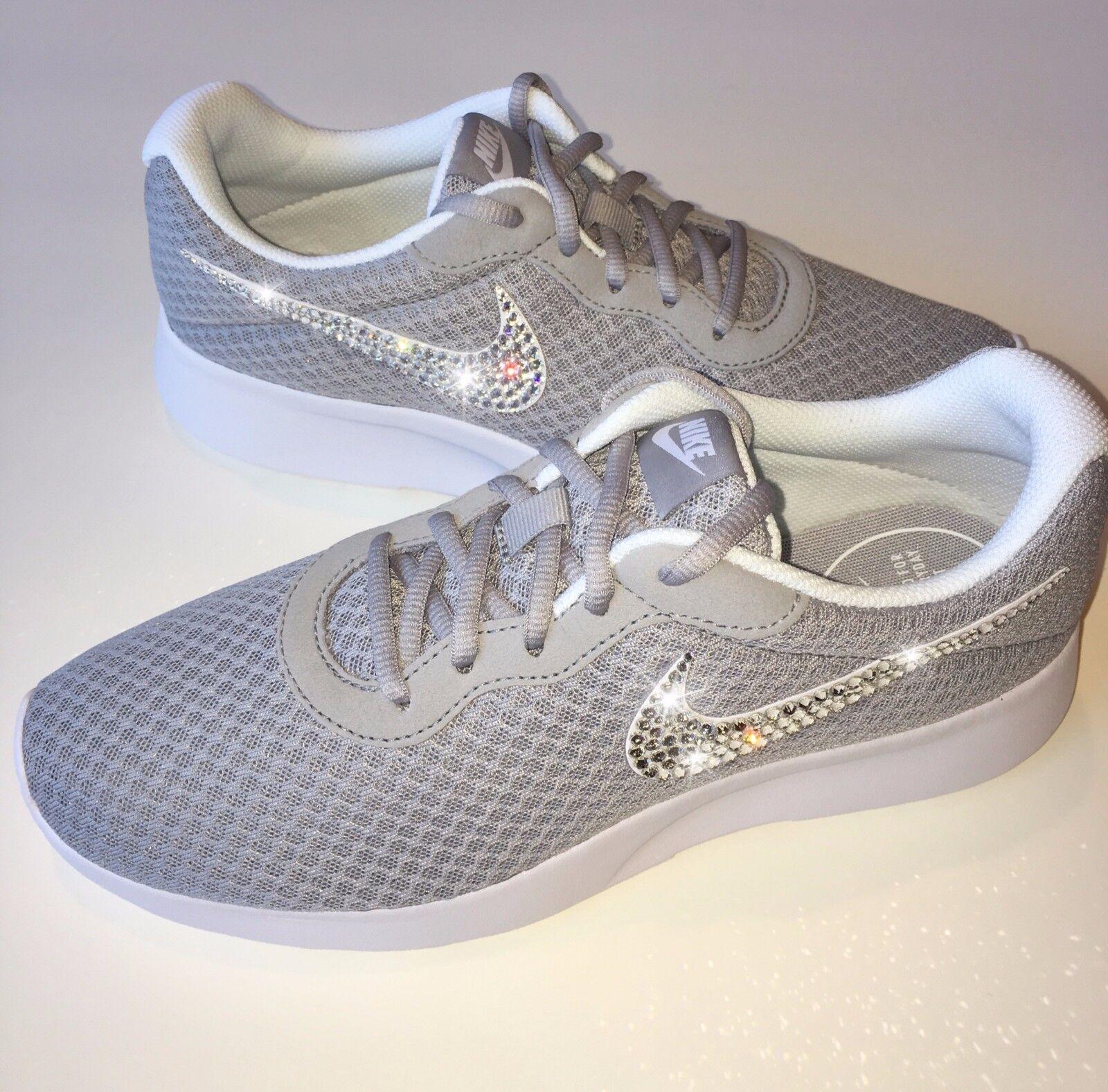 Bling Nike Tanjun Shoes with Swarovski Crystal Diamond Rhinestone - Wolf Grey