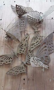 Vtg Set Lot of 8 med-Large Butterfly Moth Wall Decor Hangings Solid Brass Metal