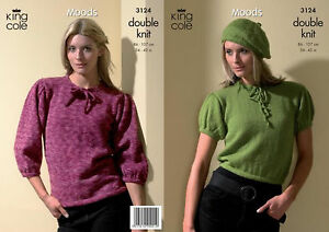 King Cole DK Knitting Pattern 3124:Sweater,Top & Beret