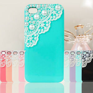 Cute-Handwork-Laces-Pearls-Hard-Back-Case-Cover-Skin-For-iPhone-4-4S