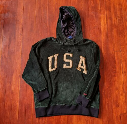 Vintage Polo Sport USA Green Hoodie Size L, Rare P