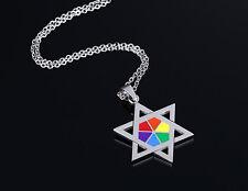 Unisex Gay Pride Rainbow Colour Star of David Pendant Necklace DogTag