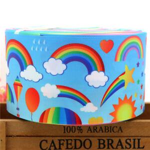 """MéThodique Rainbows Ribbon 3"""" Wide Or 75 Mm New Uk Seller Free P&p 1 M Only £ 1.99-afficher Le Titre D'origine Vous Garder En Forme Tout Le Temps"""