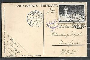 Belgium covers 1917 CINDERELLA franked cens Militairy PPC to Amersfoort