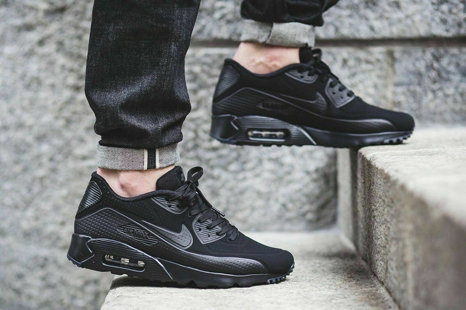Nike Air Max 90 Ultra Moire Men's Black Black 819477-010 Sz 13