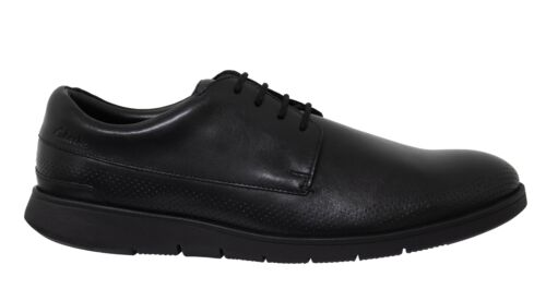 Clarks Helston Walk Black Leather Low Lace Up Mens Oxford Shoes 261487807