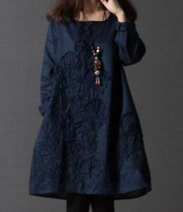 Womens-Cotton-Linen-Dress-Loose-Scoop-Neck-Long-Sleeve-Tops-Outwear-Casual-Dress
