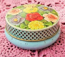 VINTAGE 1950's  RILEY BROTHERS HALIFAX ENGLAND TOFFEE TIN - FLORAL EMBOSSED LID