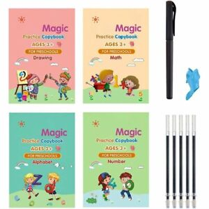 4Pc Magic Practice Copybook Number Book Writin Preschooler Pen Age 3-5 Reusable