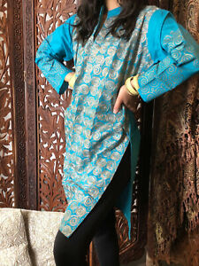 Boho-Gypsy-Hippy-Women-Long-Tunic-Dress-Blue-Golden-Embroidered-Blouse-Kurti-ML