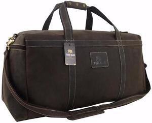 28-034-Yuge-Bear-Mens-Vtg-Genuine-Leather-Duffel-Large-Weekender-Luggage-Travel-Bag