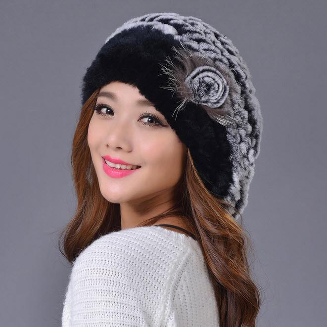 Natural Rex Rabbit Fur Hat Winter Knit Solid Beret Hat Women's Female Lady Cap