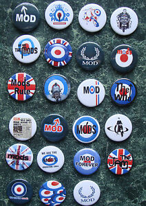 MOD-COLECTION-23-x-1-INCH-BUTTON-BADGES-RETRO-PARKER-SCOOTER-RALLIES-PATCH-PINS