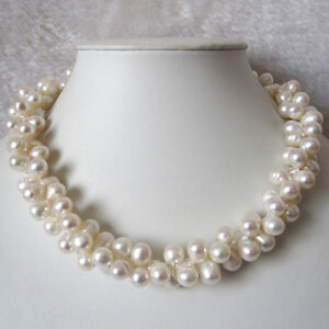 18 Inches 8-9mm 2 Row White Baroque Freshwater Pearl Necklace C UE