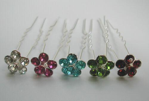 Argent//Or//Sarcelle//olive//chocolat//Clair//rouge//vert Cristal Bijou De Cheveux Fleur PINS