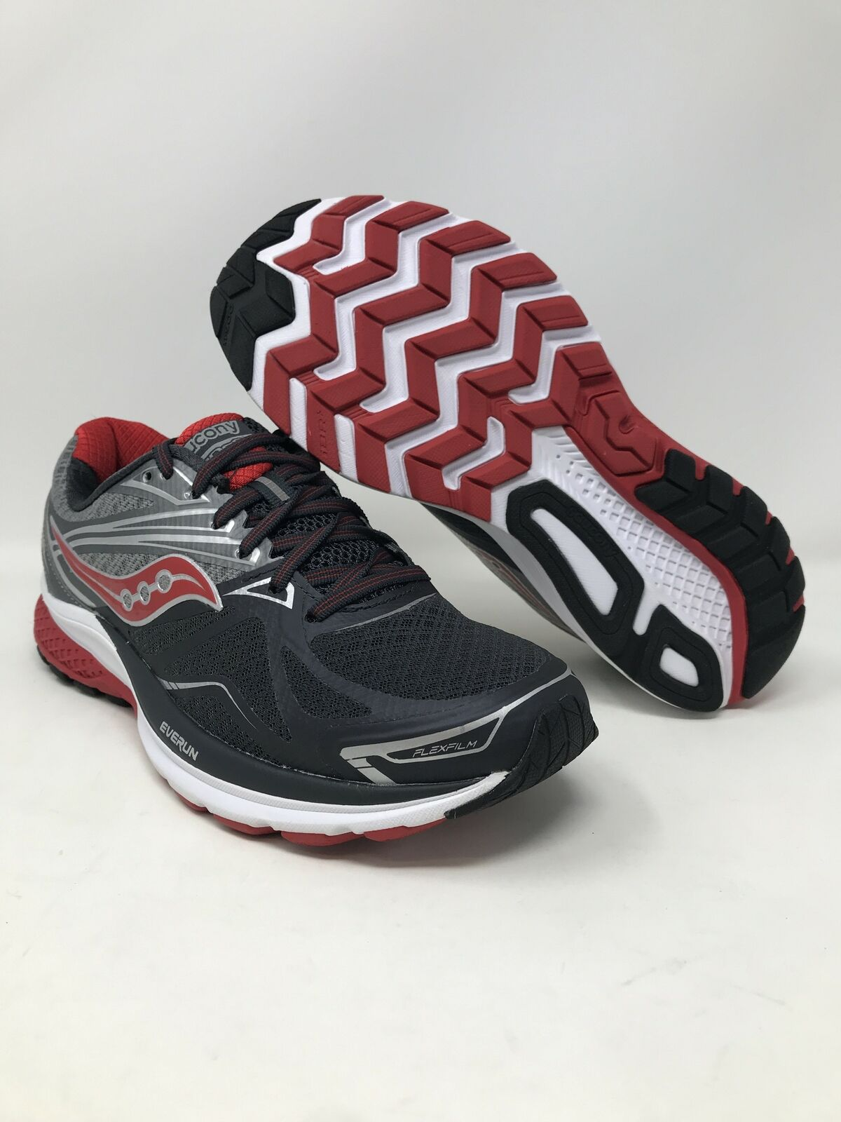 Saucony Men's Ride 9 Running shoes,  Grey Charcoal Red, 7.5 D(M) US  cheap sale
