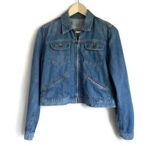 Gap Womens Denim Jacket Blue Button Pockets Zip Up 100% Cotton M