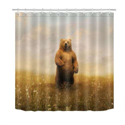 "Brown Bear Grass Land Paysage Tissu rideau de douche ensemble salle de bain DECOR 72x72/"""