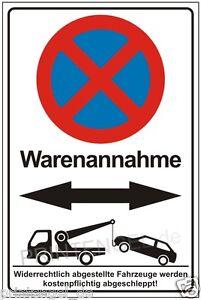 Warenannahme Schild Warenannahme Hinweisschild