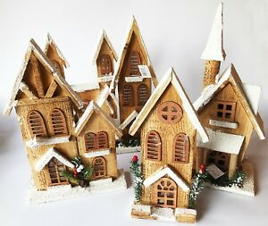 Christmas Houses.Details About Wooden Led Christmas Snowy Houses Battery Operated Ornament Decoration
