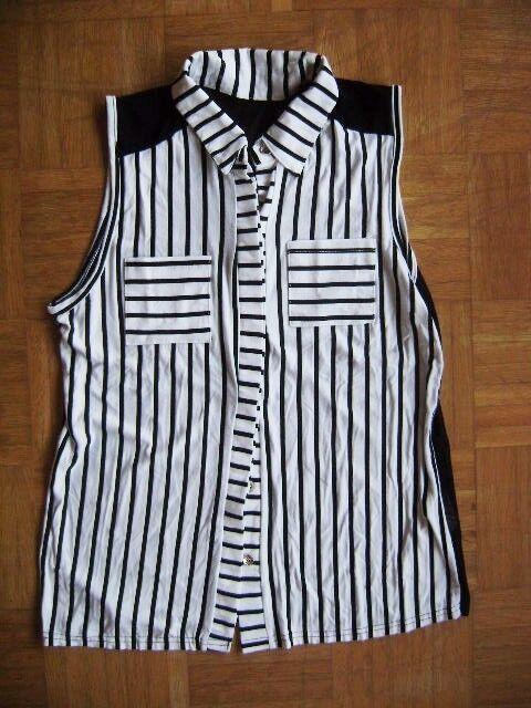Sleeveless Polo Shirt White-Black chiffonrücken See-Through Size M Size 38 UK 12