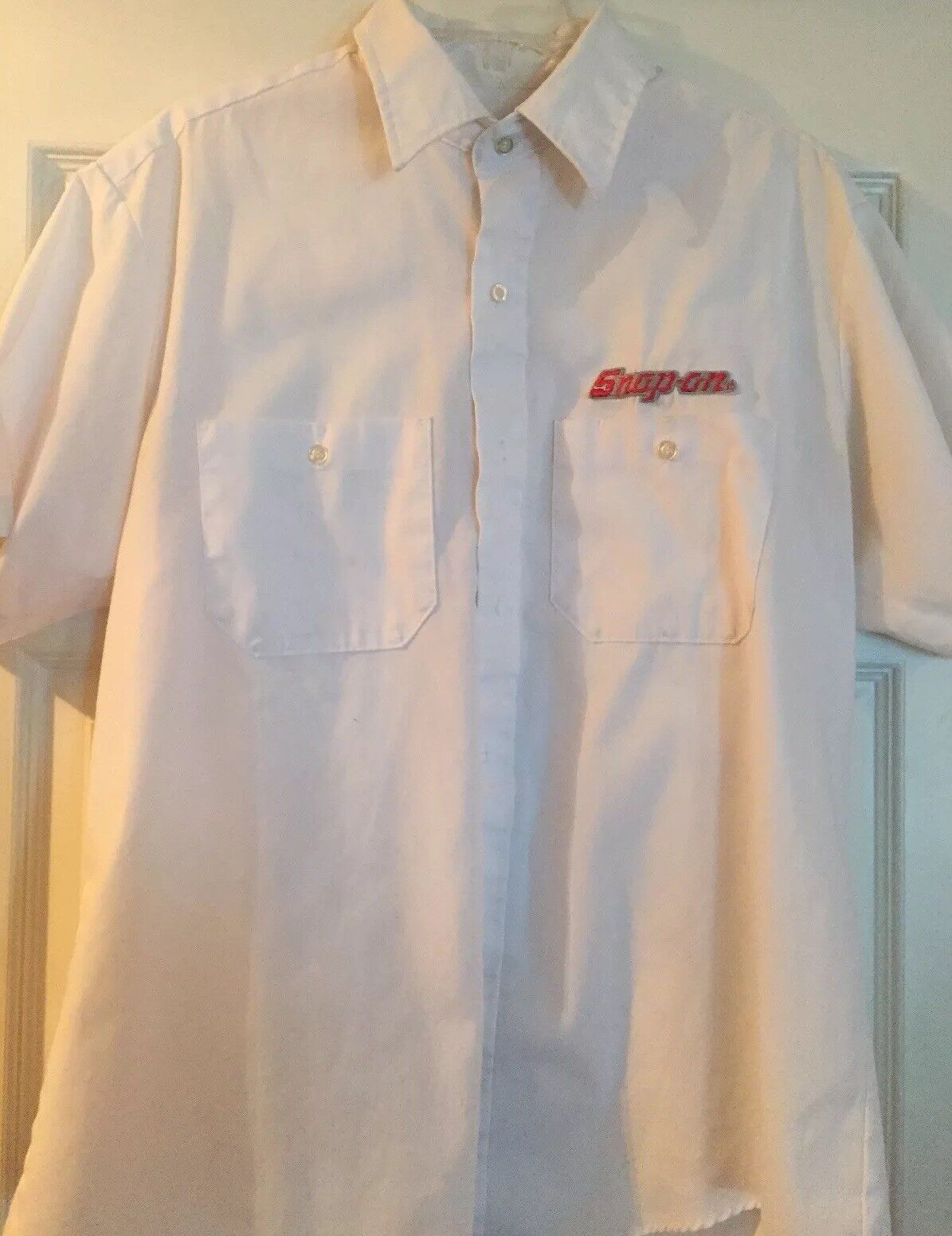 Snap On Tools White Button Up Dress Shirt 80s Large
