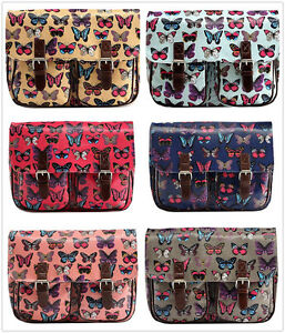 Ladies Girls Shoulder Oil Canvas Butterfly Satchel Messenger Cross Body Bag