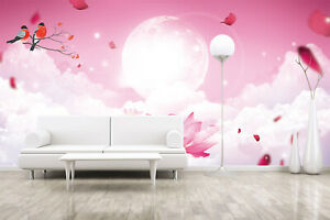 Details About 3d Pink Moon Painting Self Adhesive Wallpaper Girl Bedroom Wall Mural Sticker