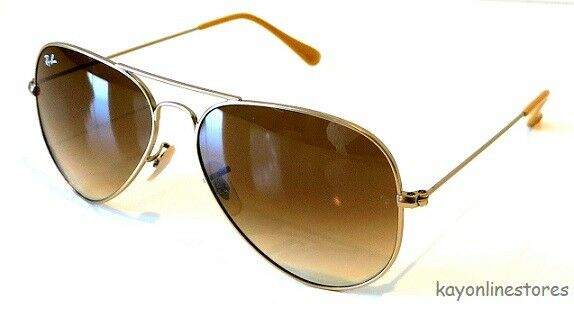 300b2885d9 Ray-Ban Rb3025 112 85 Matte Gold Aviator Sunglasses Gradient Brown Lens 58mm  for sale online
