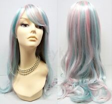 Rainbow Long Straight Wavy Wig Bangs Pink White Blue Unicorn Princess Cosplay