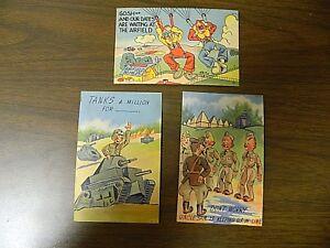 Vintage WW2 Cartoon Military Postcards Unused, Lot of 3